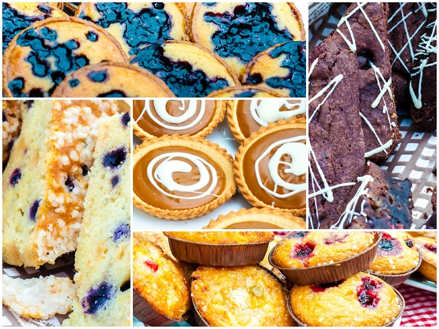Photo collage of traditional British cakes