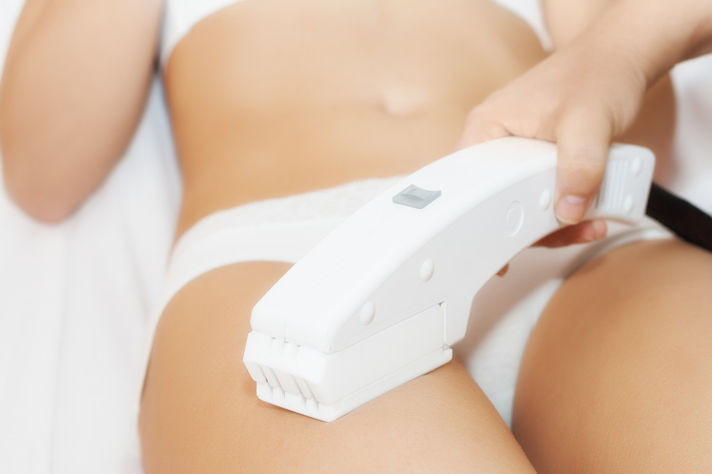 Close up of  receiving epilation laser treatment