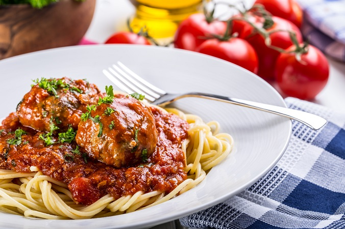 Meat balls. Italian and Mediterranean cuisine. Meat balls with spaghetti and tomato sauce. traditional kitchen.
