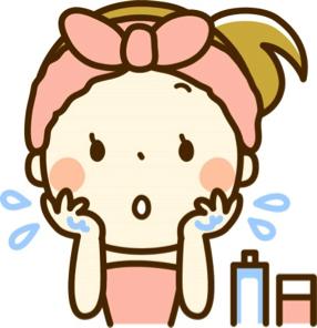 保湿をする女の子のイラスト