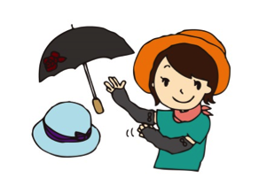 日傘と帽子をかぶった女の子