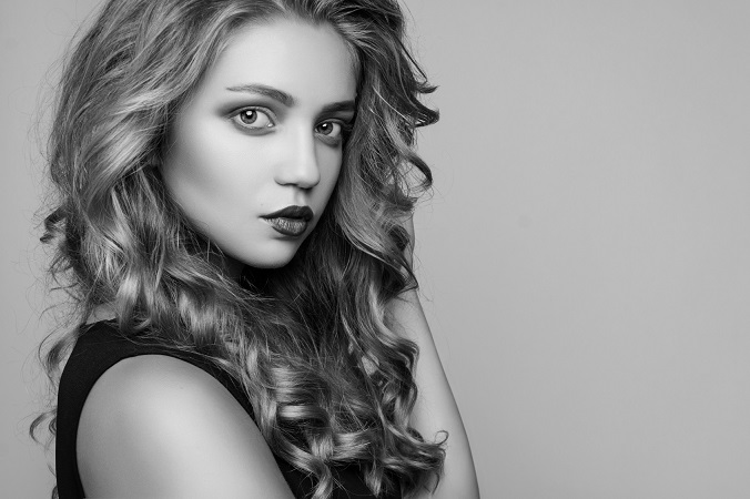 Portrait of beautiful sensual woman with elegant hairstyle. Perf