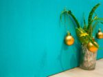 Aloe Vera Christmas tree on a blue background, space for text