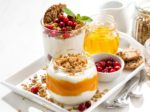 desserts with pumpkin, berries and biscuits