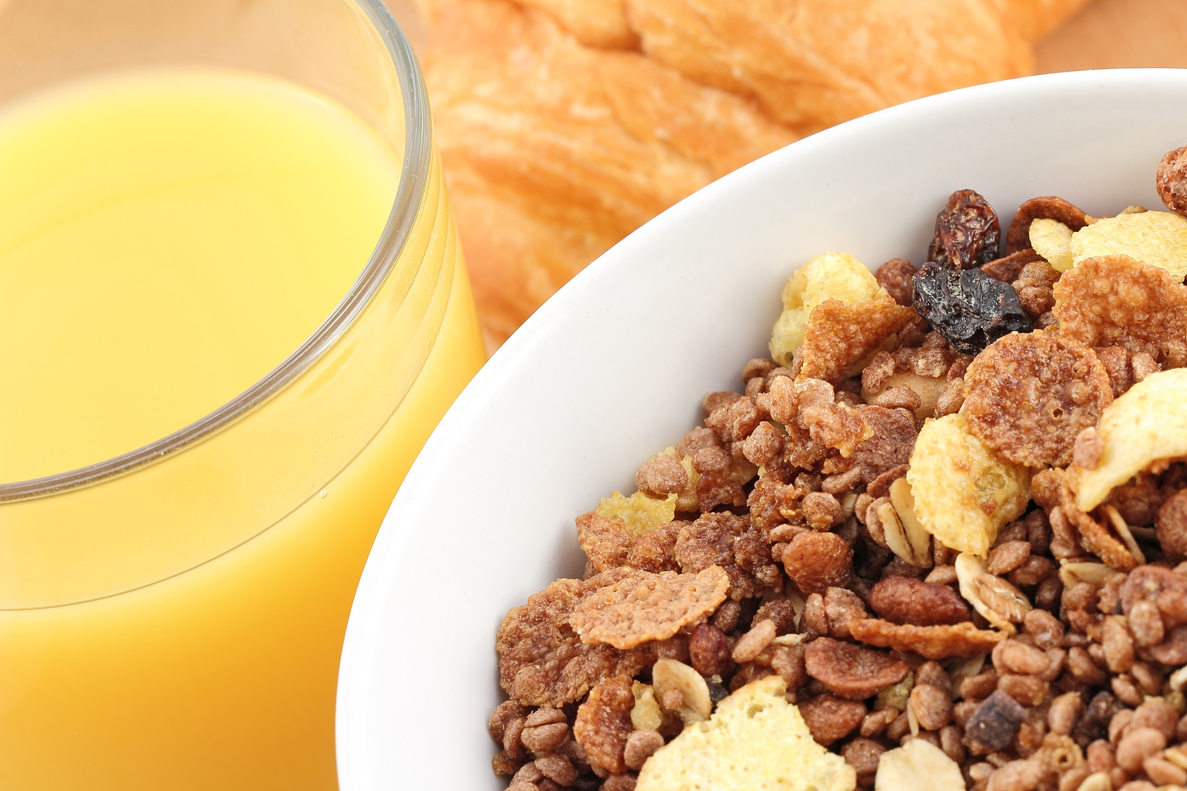 Closeup with juice and muesli