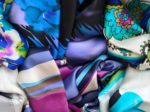 Motley silk kerchiefs in a mess