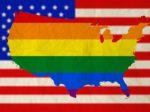 Rainbow flag on United states of america with USA flag backgroun